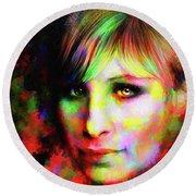 Barbara Streisand Round Beach Towel