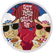 Barbecue Pigs Round Beach Towel