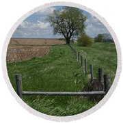 Barbed Wire Fence Line Round Beach Towel