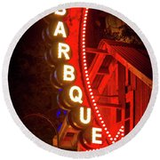 Round Beach Towel featuring the photograph Barbeque Smokehouse by Mark Andrew Thomas