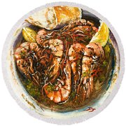 Barbequed Shrimp Round Beach Towel