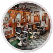 Barber - Frenchtown Barbers  Round Beach Towel