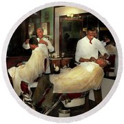Round Beach Towel featuring the photograph Barber - A Time Honored Tradition 1941 by Mike Savad