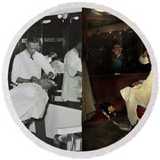 Round Beach Towel featuring the photograph Barber - A Time Honored Tradition 1941 - Side By Side by Mike Savad