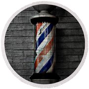 Barber Pole Blues  Round Beach Towel by Jerry Cordeiro