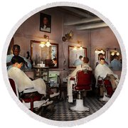 Round Beach Towel featuring the photograph Barber - Senators-only Barbershop 1937 by Mike Savad