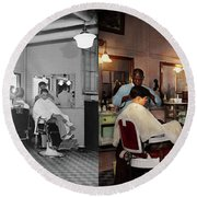 Round Beach Towel featuring the photograph Barber - Senators-only Barbershop 1937 - Side By Side by Mike Savad
