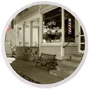 Clarks Barber Shop With Color Round Beach Towel