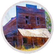 Round Beach Towel featuring the photograph Barber Store by Susan Kinney