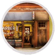 Barber - Towne Barber Shop Round Beach Towel