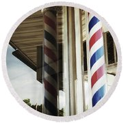 Barbershop Pole Round Beach Towel
