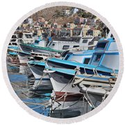 Harbour Of Simi Round Beach Towel