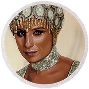 Barbra Streisand 2 Round Beach Towel by Paul Meijering