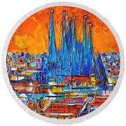 Barcelona Abstract Cityscape 7 - Sagrada Familia Round Beach Towel by Ana Maria Edulescu