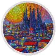 Barcelona Colorful Sunset Over Sagrada Familia Abstract City Knife Oil Painting Ana Maria Edulescu Round Beach Towel