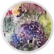 Barcelona Flower Mart Round Beach Towel