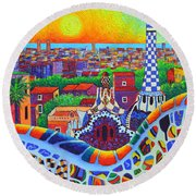 Barcelona Park Guell Sunrise Gaudi Tower Textural Impasto Knife Oil Painting By Ana Maria Edulescu Round Beach Towel