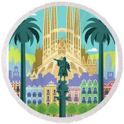 Barcelona Retro Travel Poster Round Beach Towel