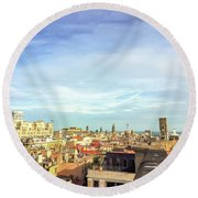 Round Beach Towel featuring the photograph Barcelona Rooftops by Colleen Kammerer