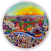 Barcelona Sunrise Colors From Park Guell Modern Impressionism Knife Oil Painting Ana Maria Edulescu Round Beach Towel