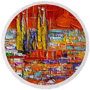 Barcelona Sagrada Familia View From Parc Guell Abstract Palette Knife Oil Painting Round Beach Towel