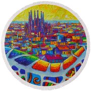 Barcelona View Sagrada From Park Guell Impressionist Abstract City Knife Painting Ana Maria Edulescu Round Beach Towel