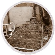 Round Beach Towel featuring the photograph Bare Bones Miners Camp by Marie Neder