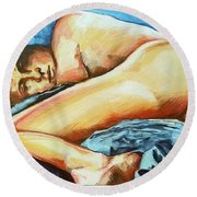 Naked Bare Truth Round Beach Towel