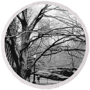 Round Beach Towel featuring the photograph Bare Tree On Walking Path Bw by Sandy Moulder