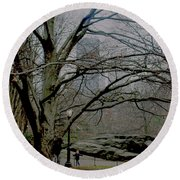 Round Beach Towel featuring the photograph Bare Tree On Walking Path by Sandy Moulder