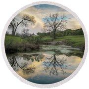 Bare Tree Reflections Round Beach Towel