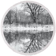 Round Beach Towel featuring the photograph Bare Trees by Darren White