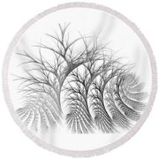 Bare Trees Daylight Round Beach Towel