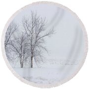 Bare Trees In A Snow Storm Round Beach Towel