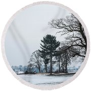Bare Trees In The Snow Round Beach Towel