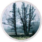 Bare Winter Trees Round Beach Towel by Karen Stahlros