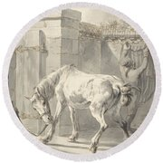 Bareback Horse By The Bridle Attached To A Pole Round Beach Towel