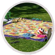 Barefoot In The Grass Round Beach Towel