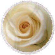 Barely White Rose Round Beach Towel