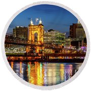 Barge At Dusk Round Beach Towel