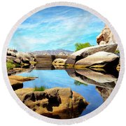 Round Beach Towel featuring the photograph Barker Dam - Joshua Tree National Park by Glenn McCarthy Art and Photography