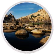 Barker Dam Lake Round Beach Towel