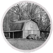 Round Beach Towel featuring the photograph Barn 2 by Mike McGlothlen