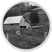 Round Beach Towel featuring the photograph Barn 4 by Mike McGlothlen