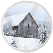Barn After Snow Round Beach Towel