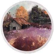 Barn And Birds  Round Beach Towel