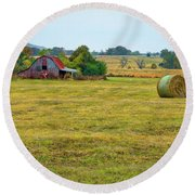 Barn And Field Round Beach Towel