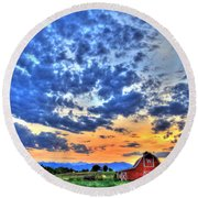 Barn And Sky Round Beach Towel