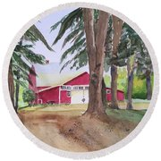 Barn At Howland Preserve Round Beach Towel