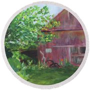 Round Beach Towel featuring the painting Barn At Perennial Pleasures by Donna Walsh
